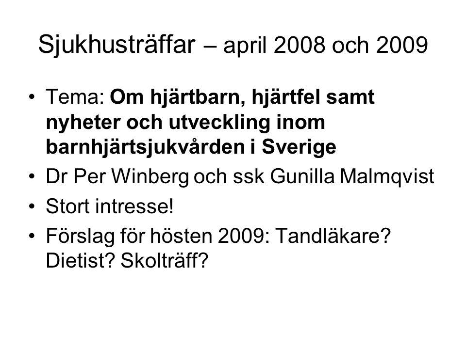 Sjukhusträffar – april 2008 och 2009