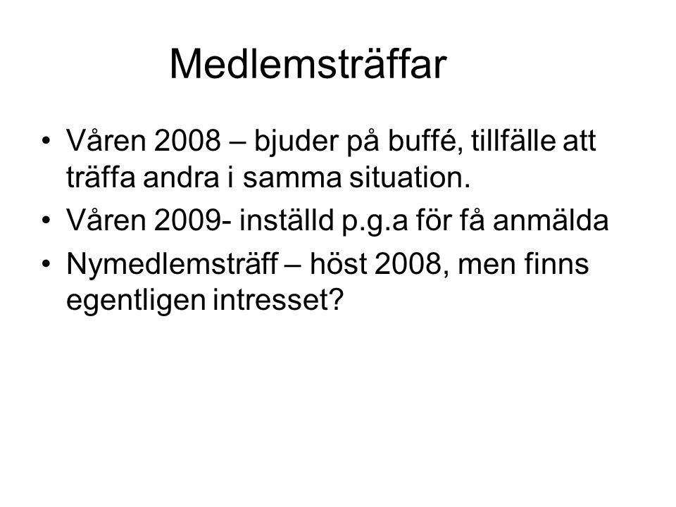 Medlemsträffar Våren 2008 – bjuder på buffé, tillfälle att träffa andra i samma situation. Våren 2009- inställd p.g.a för få anmälda.