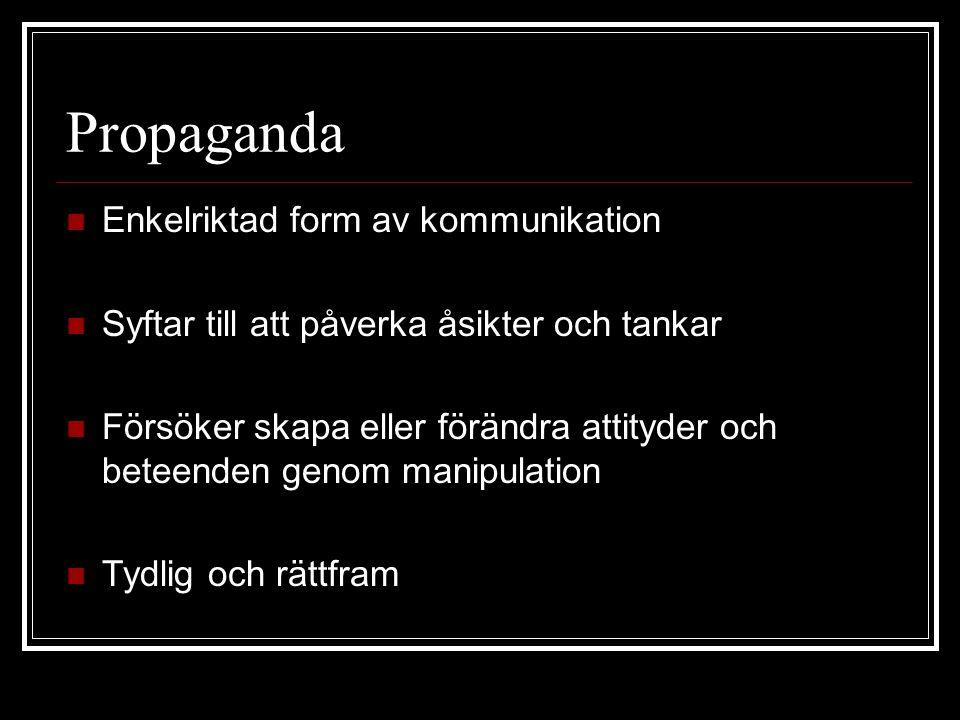 Propaganda Enkelriktad form av kommunikation