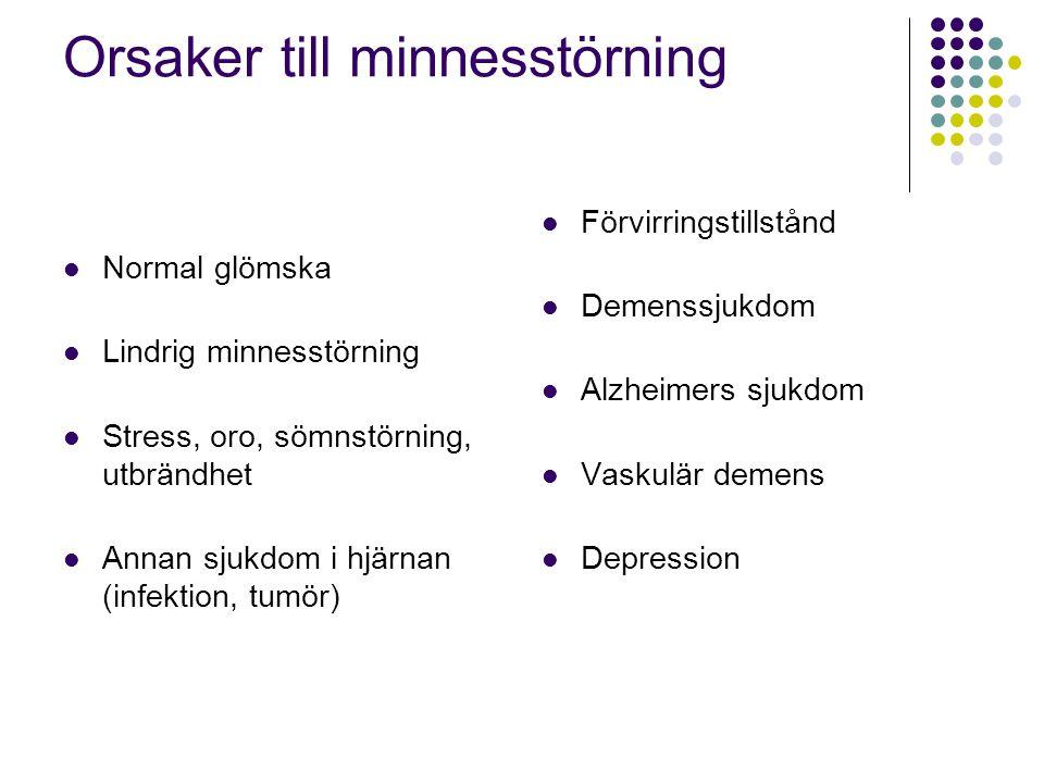 Orsaker till minnesstörning