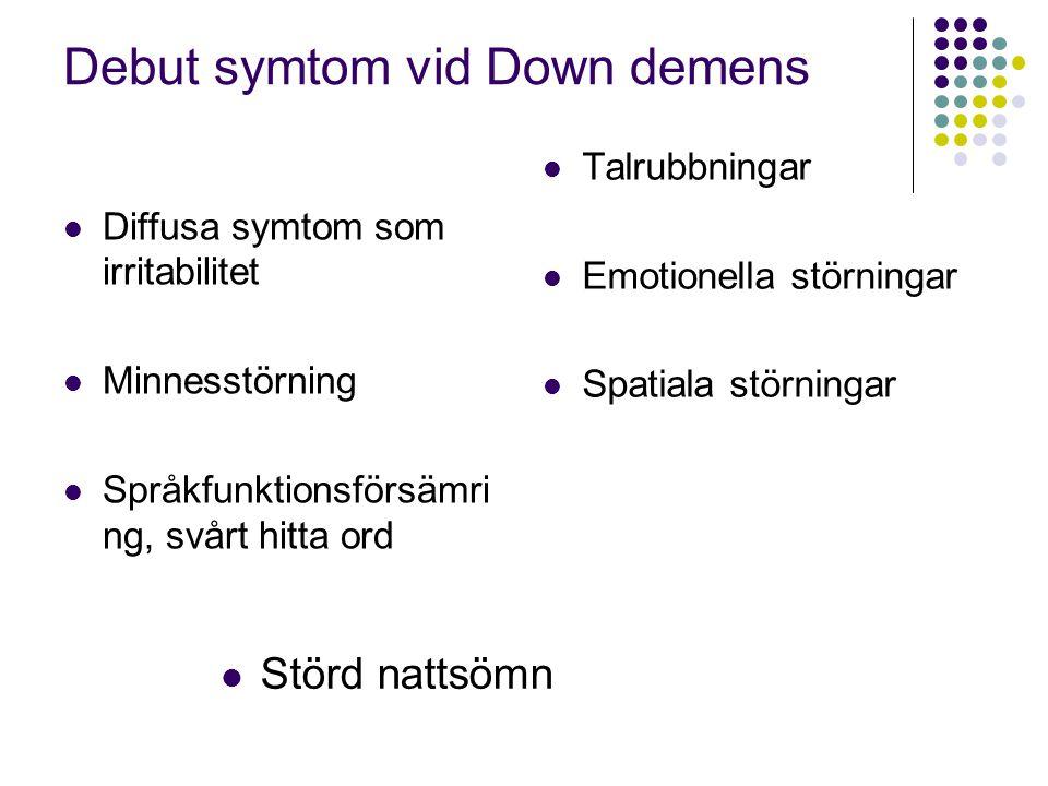 Debut symtom vid Down demens
