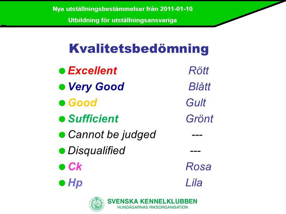 Kvalitetsbedömning Excellent Rött Very Good Blått Good Gult