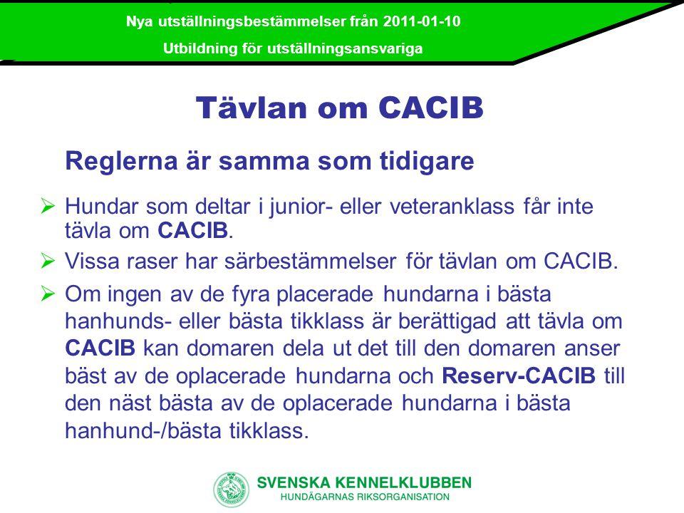 Tävlan om CACIB Reglerna är samma som tidigare