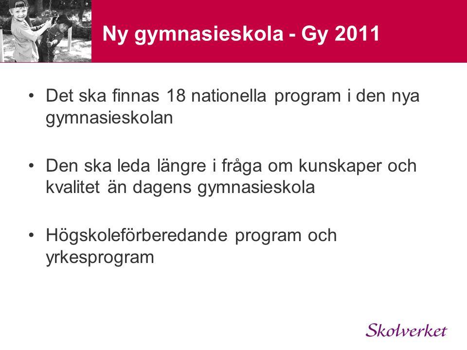 Ny gymnasieskola - Gy 2011 Det ska finnas 18 nationella program i den nya gymnasieskolan.