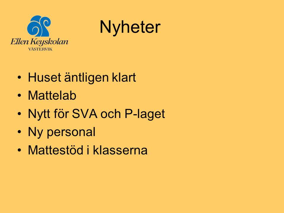 Nyheter Huset äntligen klart Mattelab Nytt för SVA och P-laget
