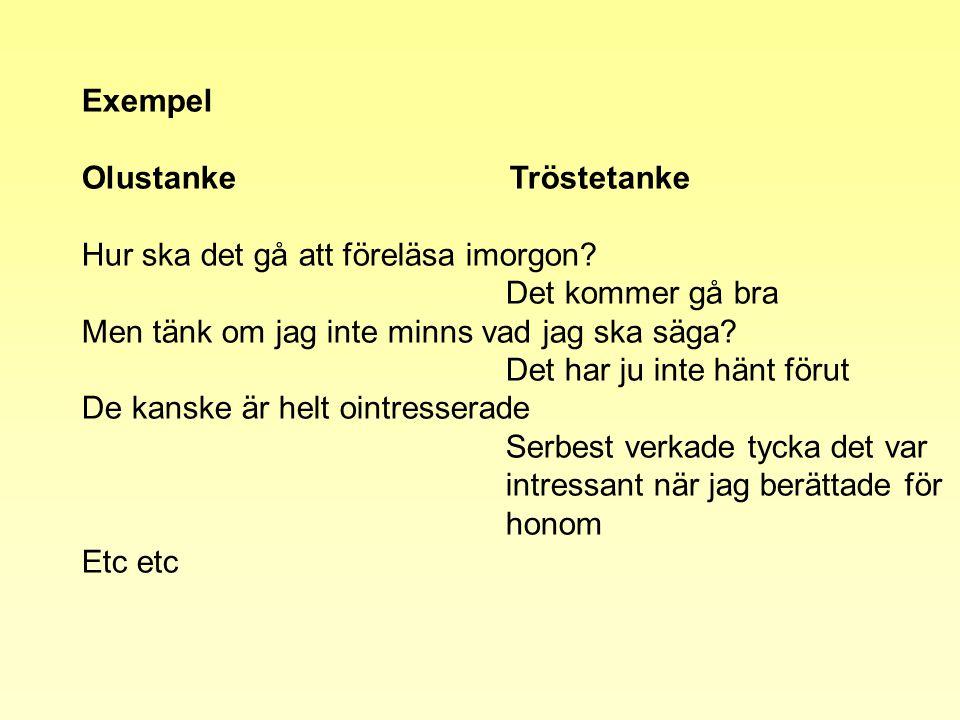 Exempel Olustanke Tröstetanke. Hur ska det gå att föreläsa imorgon Det kommer gå bra.