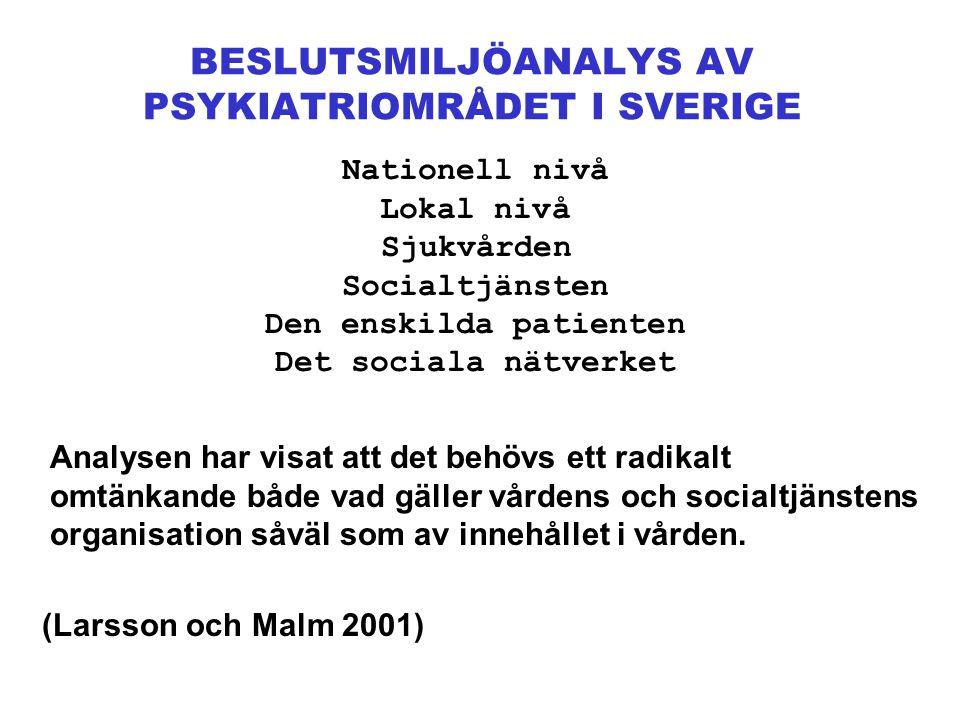 BESLUTSMILJÖANALYS AV PSYKIATRIOMRÅDET I SVERIGE