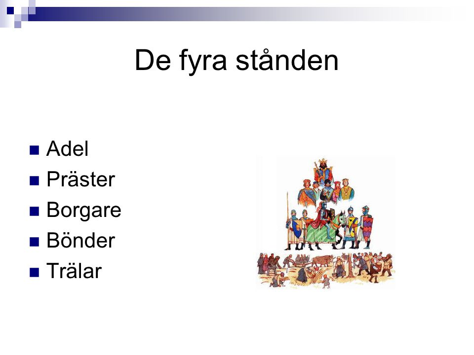 De fyra stånden Adel Präster Borgare Bönder Trälar