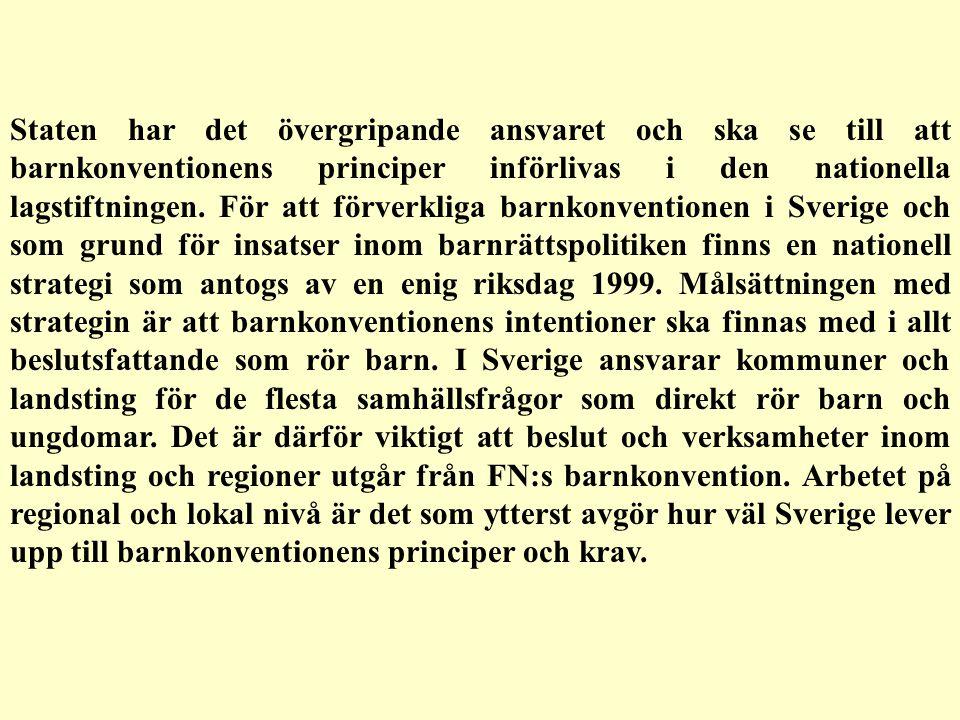 Staten har det övergripande ansvaret och ska se till att barnkonventionens principer införlivas i den nationella lagstiftningen. För att förverkliga barnkonventionen i Sverige och som grund för insatser inom barnrättspolitiken finns en nationell strategi som antogs av en enig riksdag 1999. Målsättningen med strategin är att barnkonventionens intentioner ska finnas med i allt beslutsfattande som rör barn. I Sverige ansvarar kommuner och landsting för de flesta samhällsfrågor som direkt rör barn och ungdomar. Det är därför viktigt att beslut och verksamheter inom landsting och regioner utgår från FN:s barnkonvention. Arbetet på regional och lokal nivå är det som ytterst avgör hur väl Sverige lever upp till barnkonventionens principer och krav.