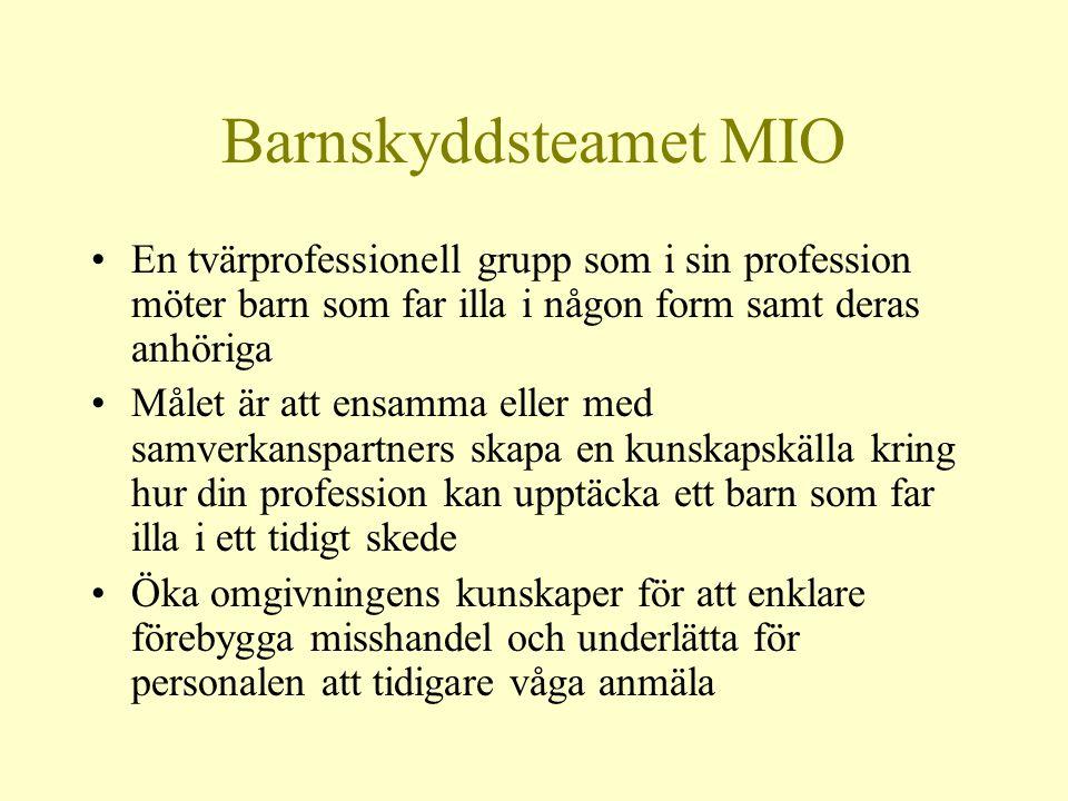 Barnskyddsteamet MIO En tvärprofessionell grupp som i sin profession möter barn som far illa i någon form samt deras anhöriga.