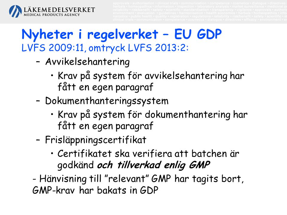 Nyheter i regelverket – EU GDP