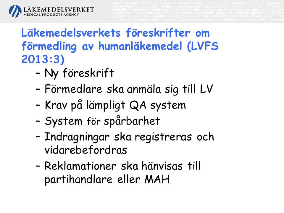 Läkemedelsverkets föreskrifter om förmedling av humanläkemedel (LVFS 2013:3)