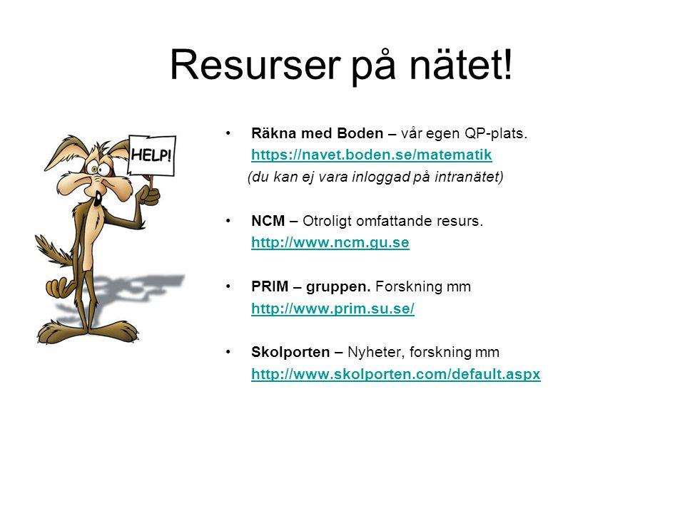 Resurser på nätet! Räkna med Boden – vår egen QP-plats.