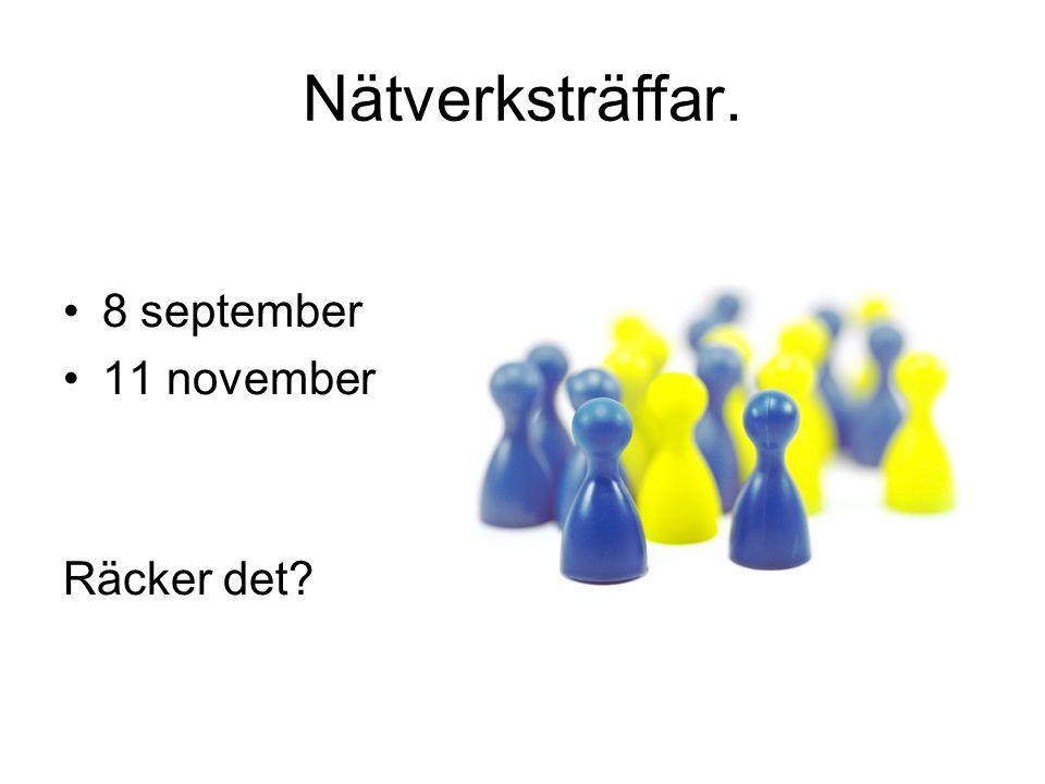 Nätverksträffar. 8 september 11 november Räcker det