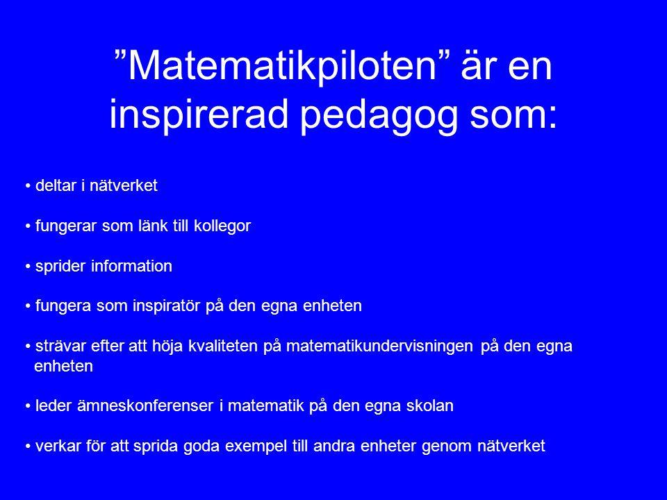 Matematikpiloten är en inspirerad pedagog som: