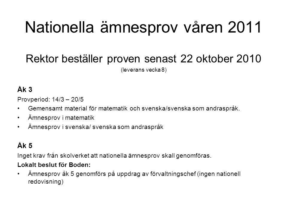 Nationella ämnesprov våren 2011