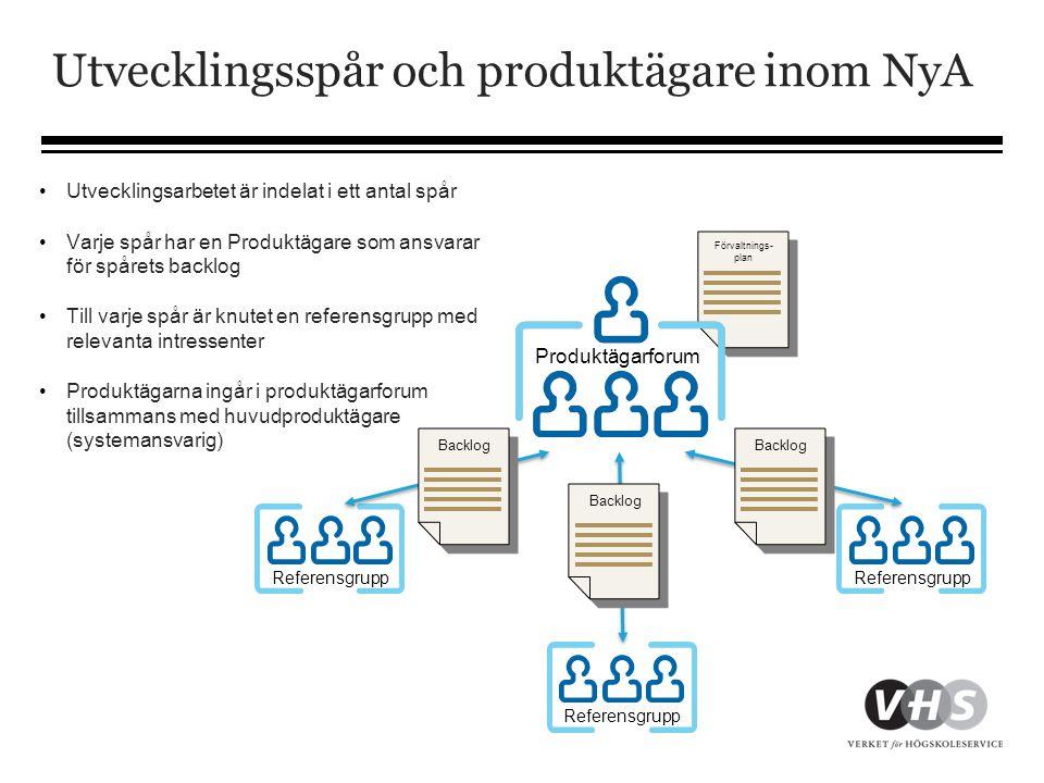 Utvecklingsspår och produktägare inom NyA