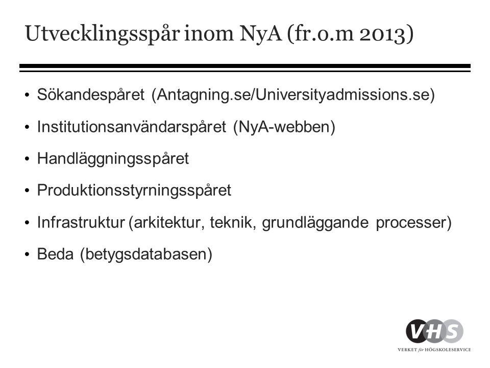 Utvecklingsspår inom NyA (fr.o.m 2013)