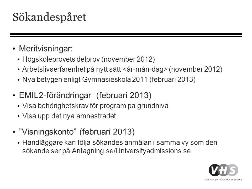 Sökandespåret Meritvisningar: EMIL2-förändringar (februari 2013)