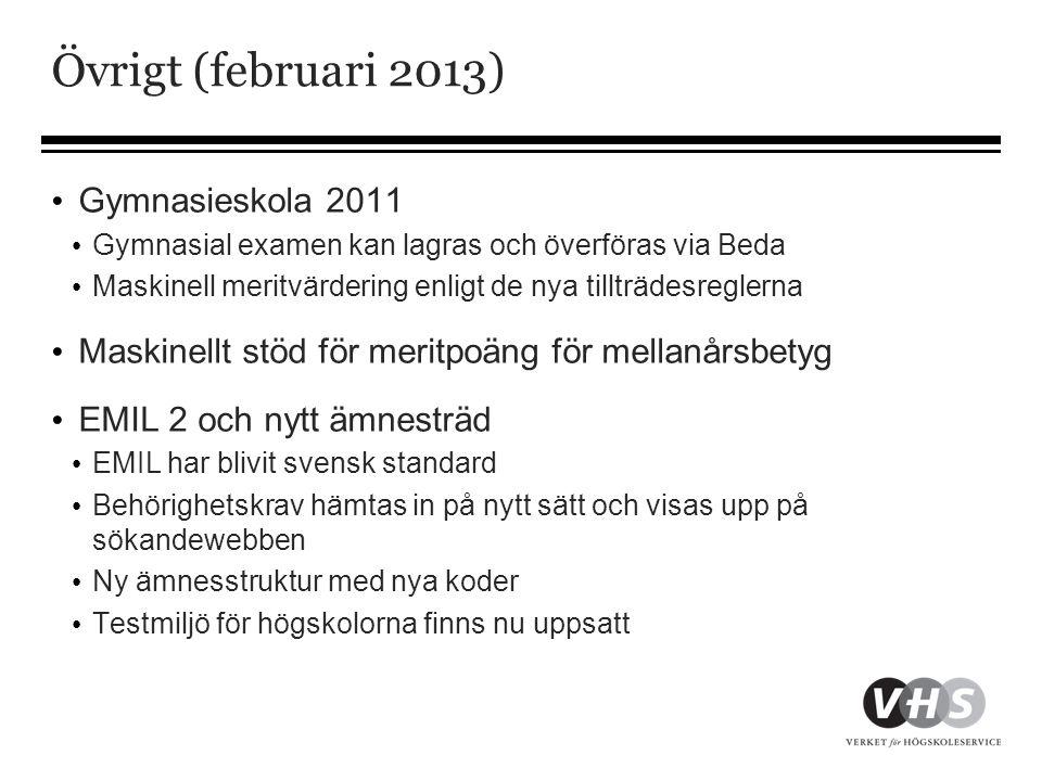 Övrigt (februari 2013) Gymnasieskola 2011