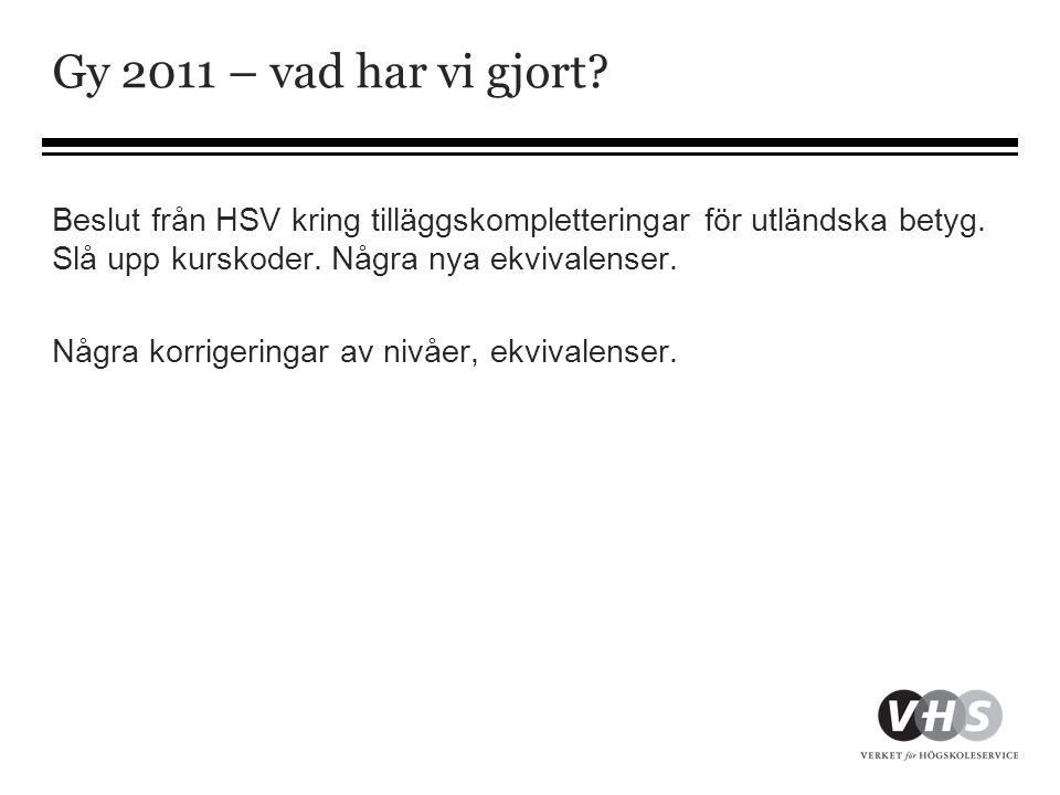 Gy 2011 – vad har vi gjort Beslut från HSV kring tilläggskompletteringar för utländska betyg. Slå upp kurskoder. Några nya ekvivalenser.