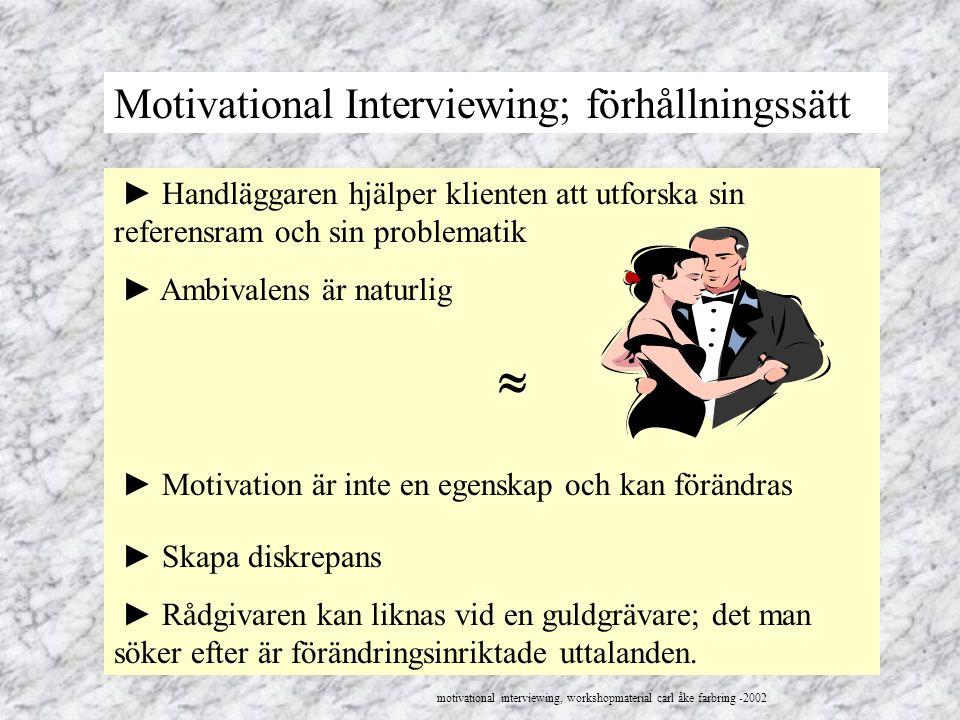 Motivational Interviewing; förhållningssätt