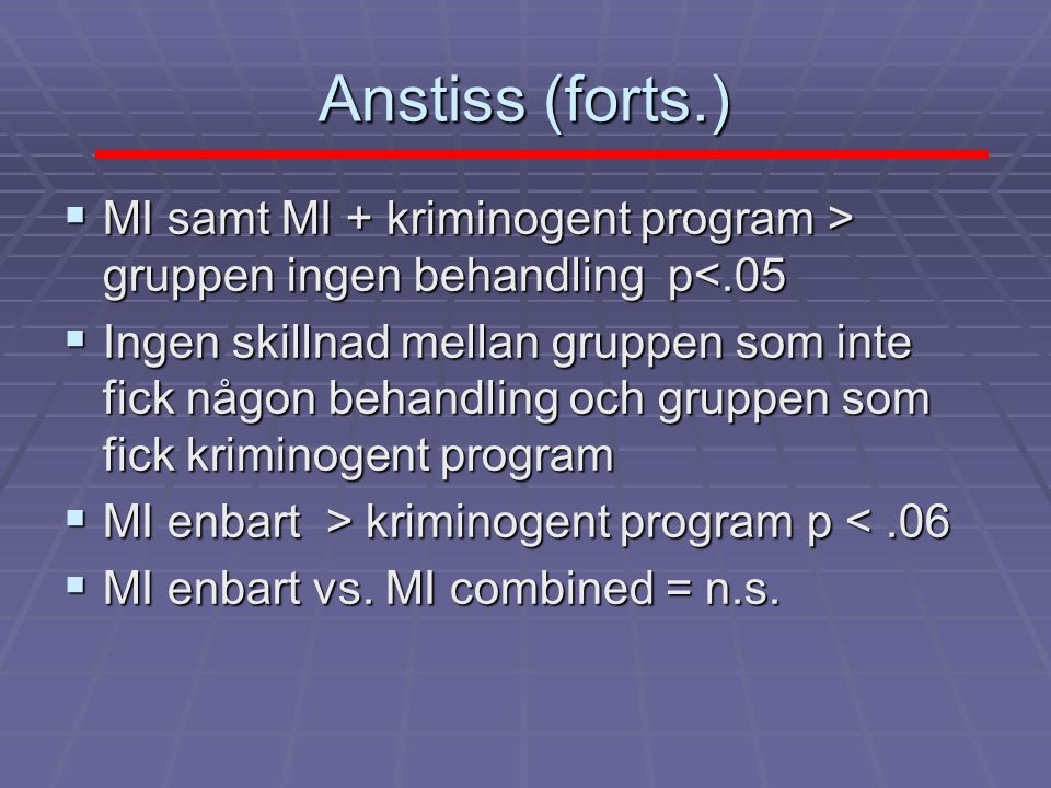 Anstiss (forts.) MI samt MI + kriminogent program > gruppen ingen behandling p<.05.