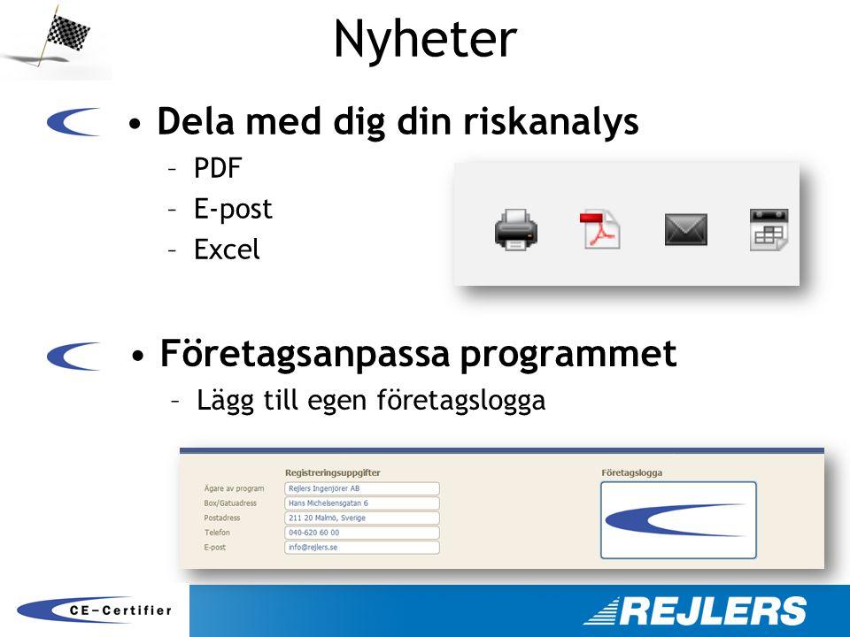 Nyheter Dela med dig din riskanalys Företagsanpassa programmet PDF