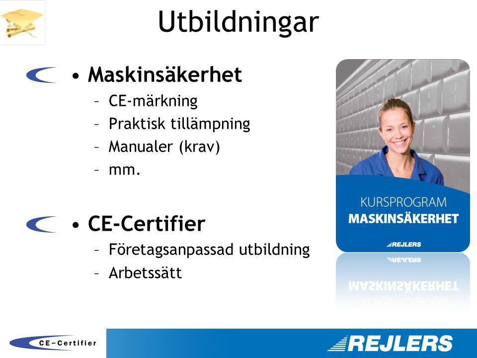 Utbildningar Maskinsäkerhet CE-Certifier CE-märkning