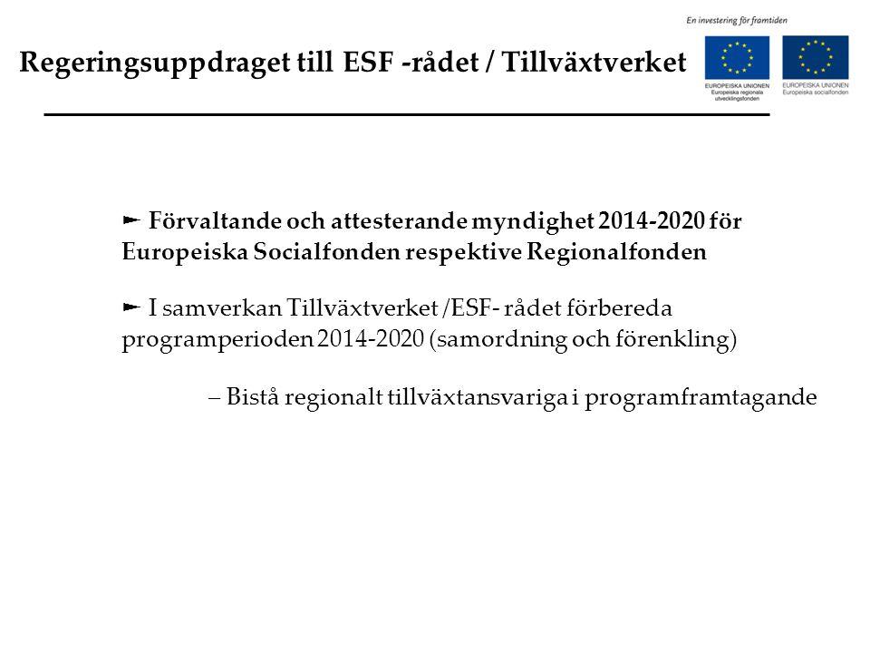 Regeringsuppdraget till ESF -rådet / Tillväxtverket