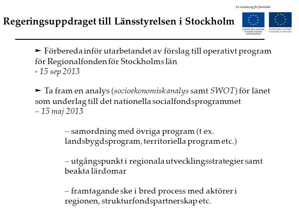Regeringsuppdraget till Länsstyrelsen i Stockholm