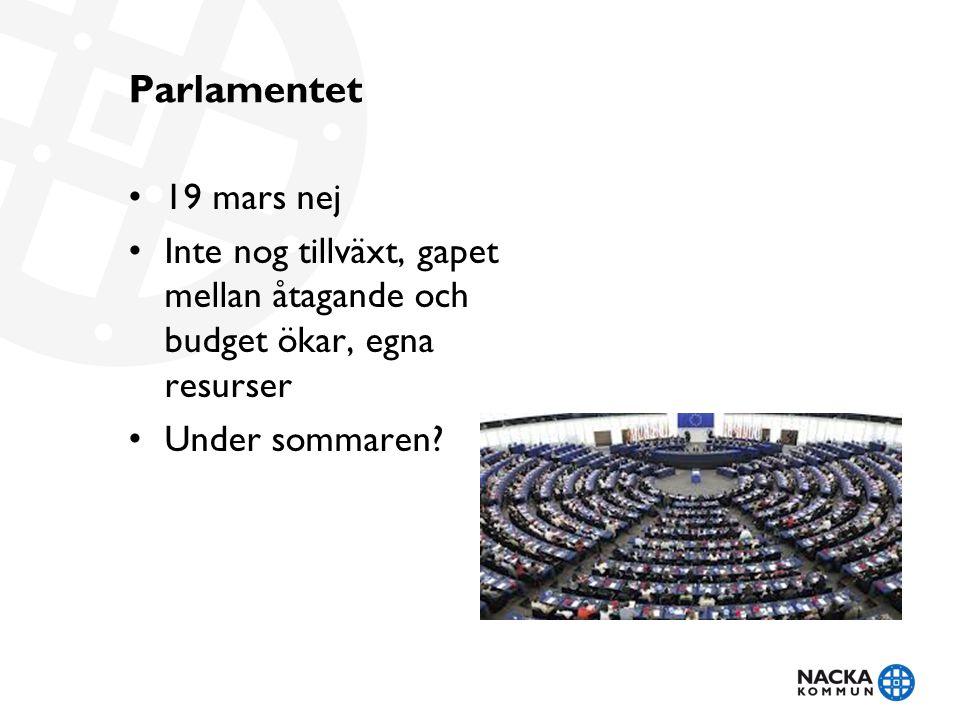 Parlamentet 19 mars nej. Inte nog tillväxt, gapet mellan åtagande och budget ökar, egna resurser.
