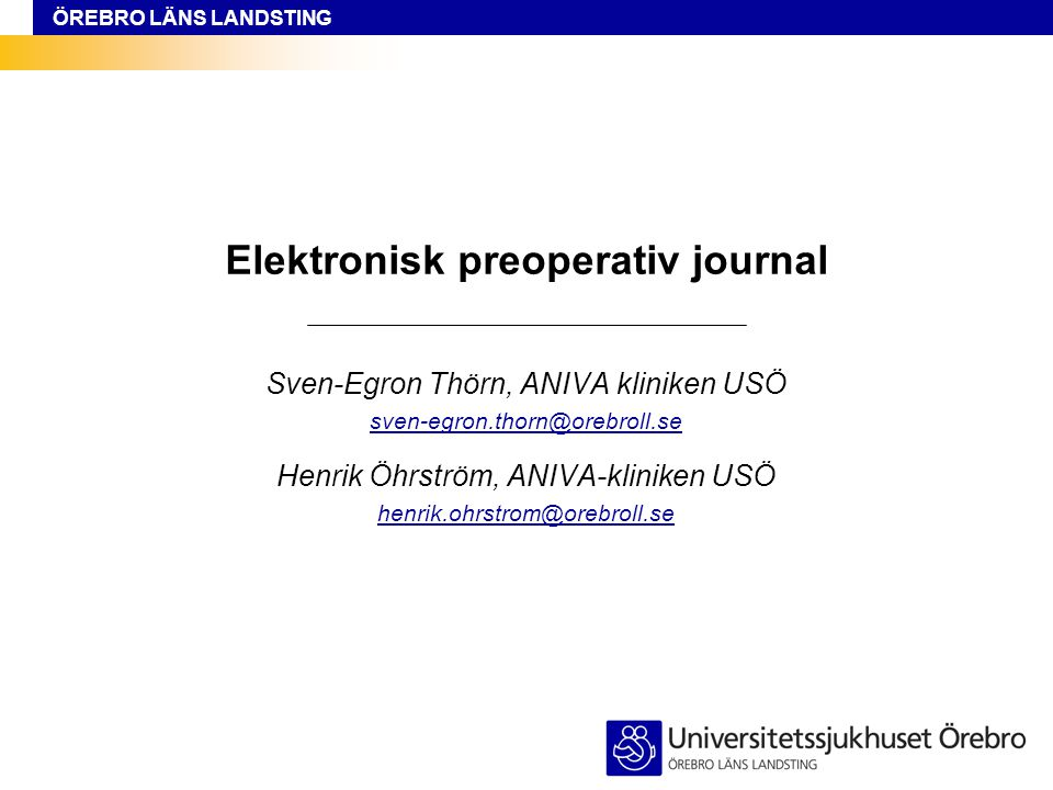 Elektronisk preoperativ journal