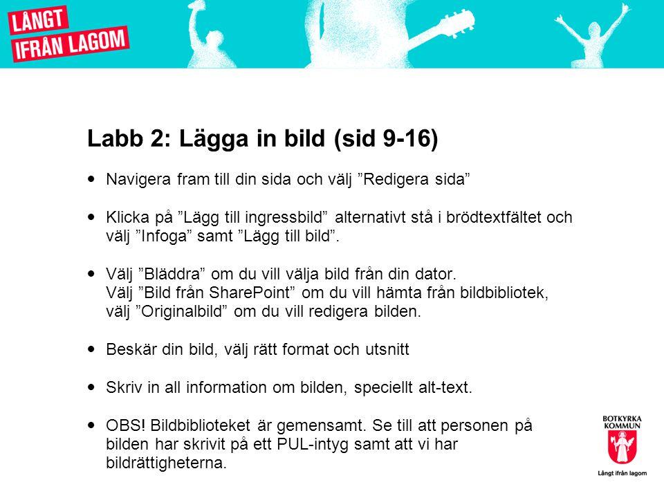 Labb 2: Lägga in bild (sid 9-16)