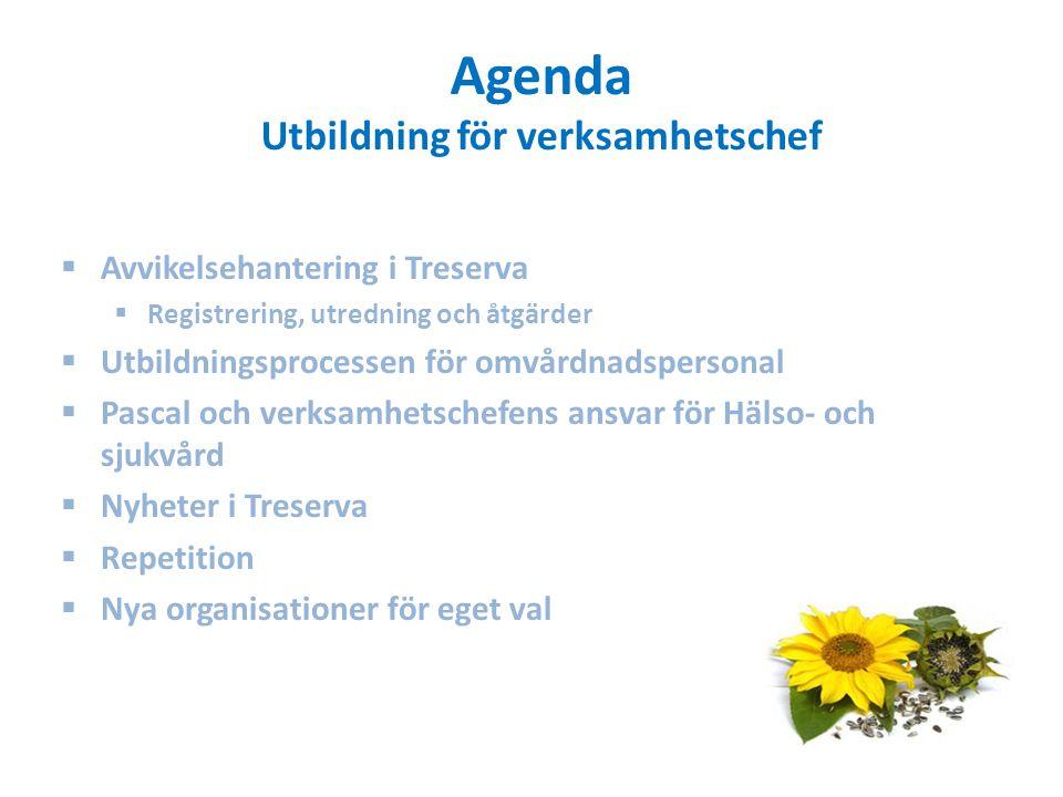 Agenda Utbildning för verksamhetschef