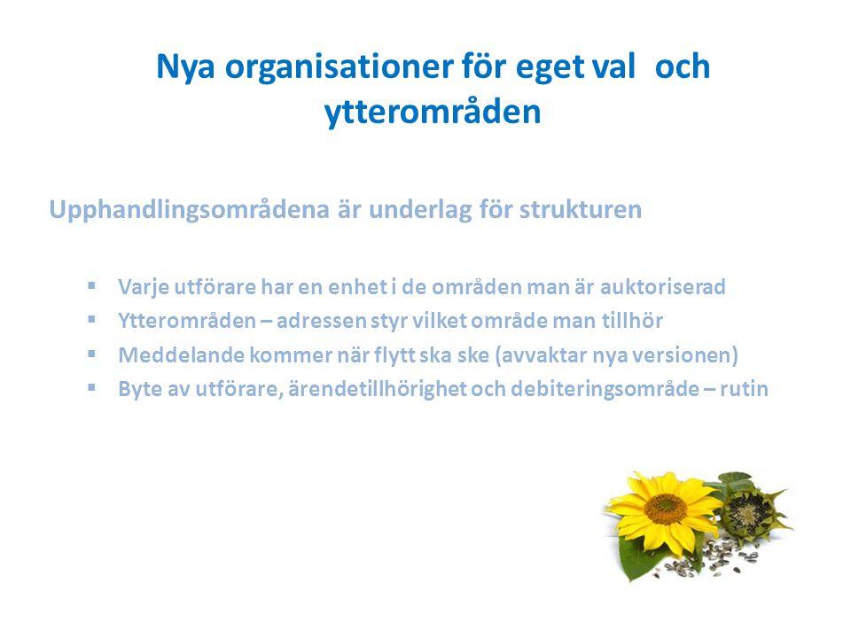 Nya organisationer för eget val och ytterområden