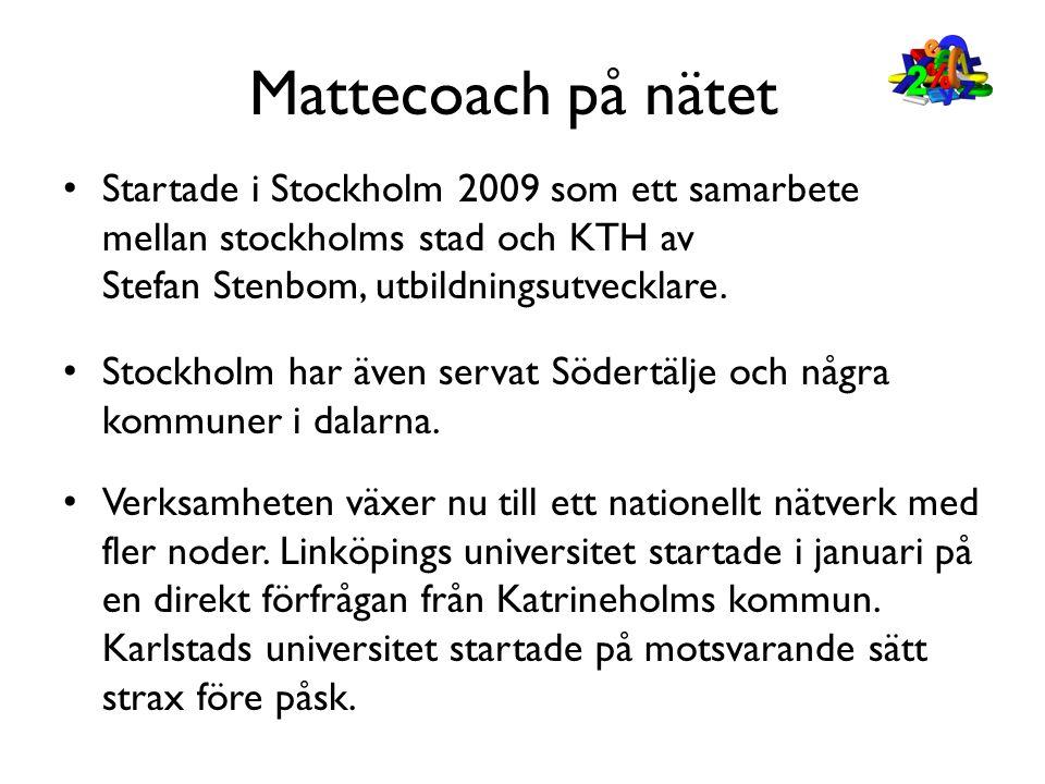 Mattecoach på nätet Startade i Stockholm 2009 som ett samarbete mellan stockholms stad och KTH av Stefan Stenbom, utbildningsutvecklare.