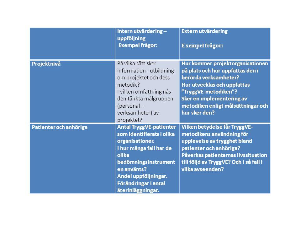 Intern utvärdering – uppföljning. Exempel frågor: Extern utvärdering. Exempel frågor: Projektnivå.