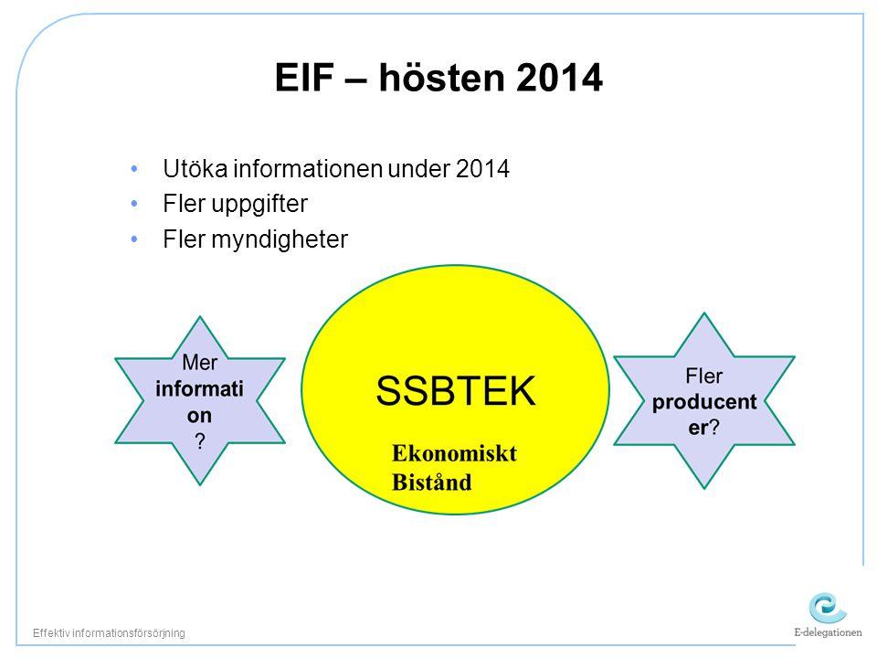 Utöka informationen under 2014 Fler uppgifter Fler myndigheter