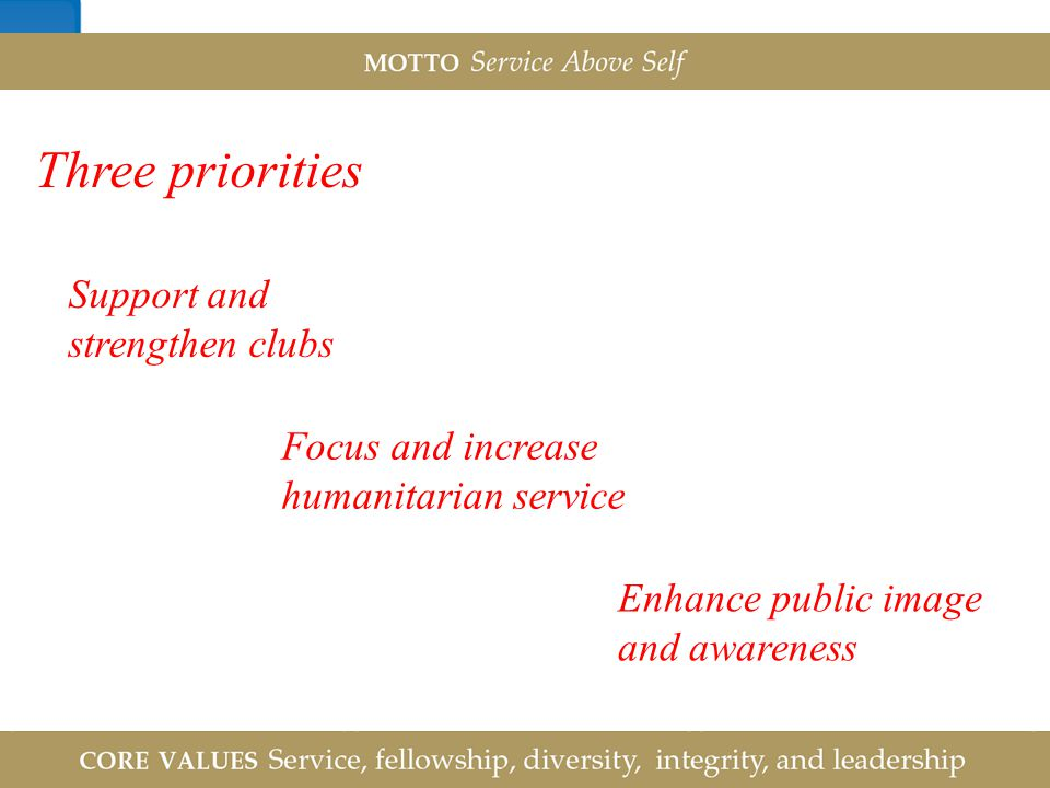 Three priorities Support and strengthen clubs Focus and increase
