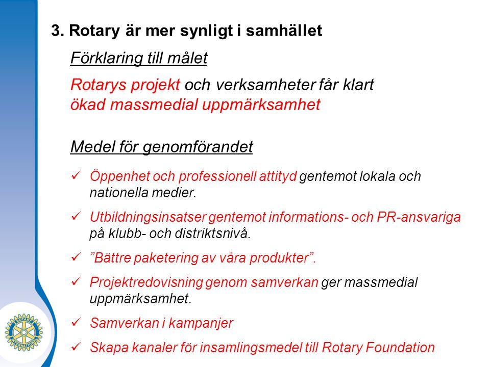 3. Rotary är mer synligt i samhället