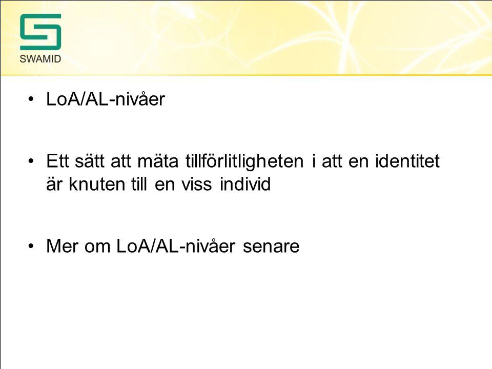 LoA/AL-nivåer Ett sätt att mäta tillförlitligheten i att en identitet är knuten till en viss individ.