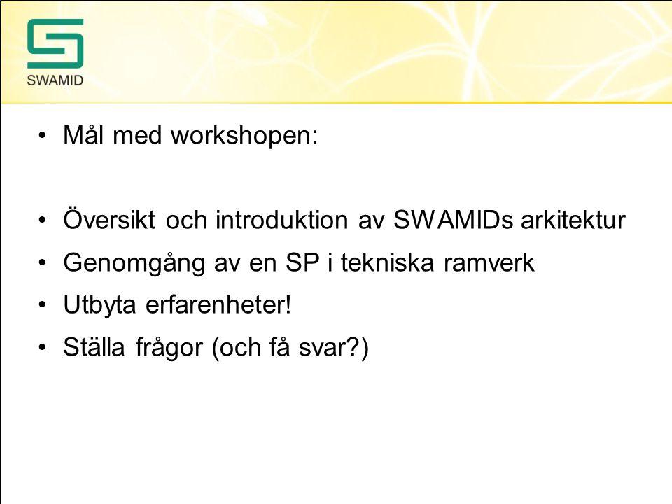 Mål med workshopen: Översikt och introduktion av SWAMIDs arkitektur. Genomgång av en SP i tekniska ramverk.