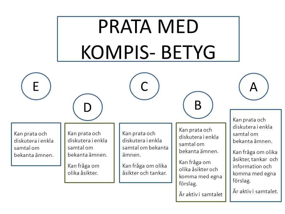 PRATA MED KOMPIS- BETYG