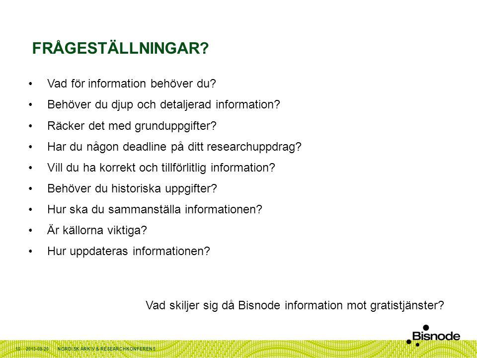Frågeställningar Vad för information behöver du
