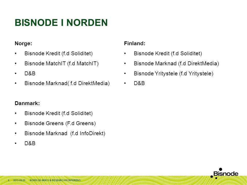 Bisnode i Norden Norge: Finland: Bisnode Kredit (f.d Soliditet)