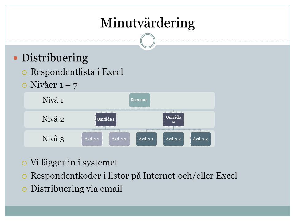 Minutvärdering Distribuering Respondentlista i Excel Nivåer 1 – 7