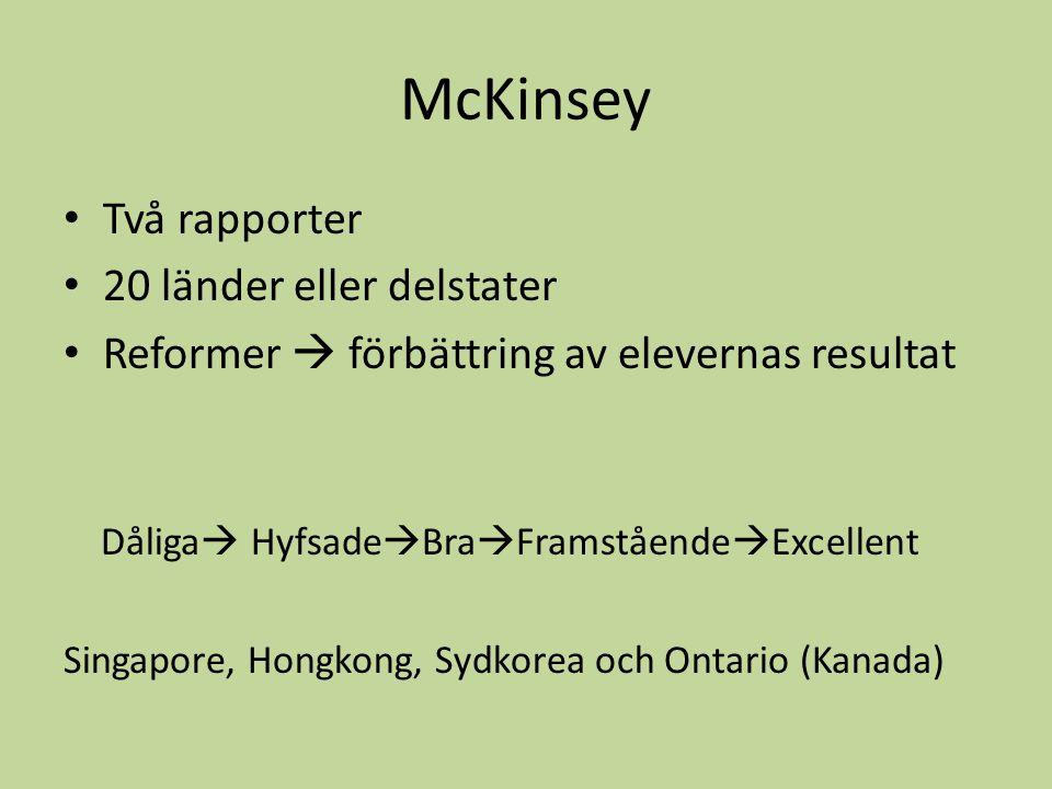 McKinsey Två rapporter 20 länder eller delstater