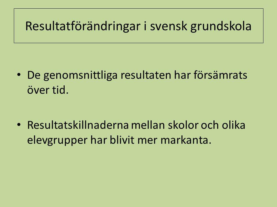 Resultatförändringar i svensk grundskola