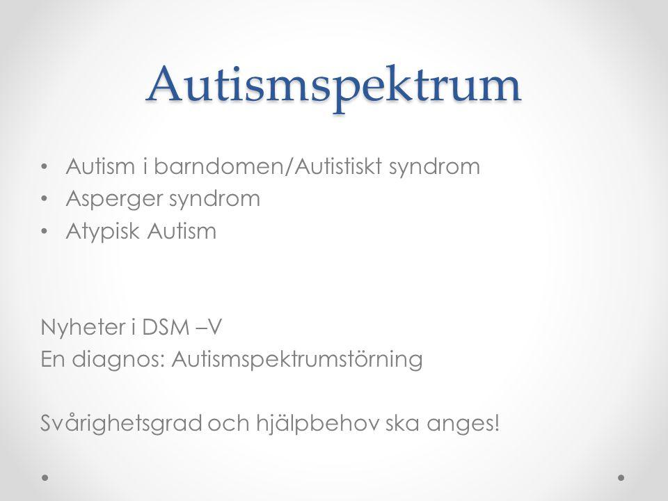 Autismspektrum Autism i barndomen/Autistiskt syndrom Asperger syndrom